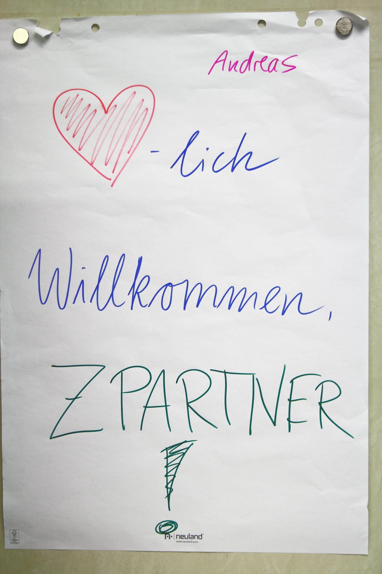 Ein Willkommens Plakat von Andreas Niese für den Workshop.