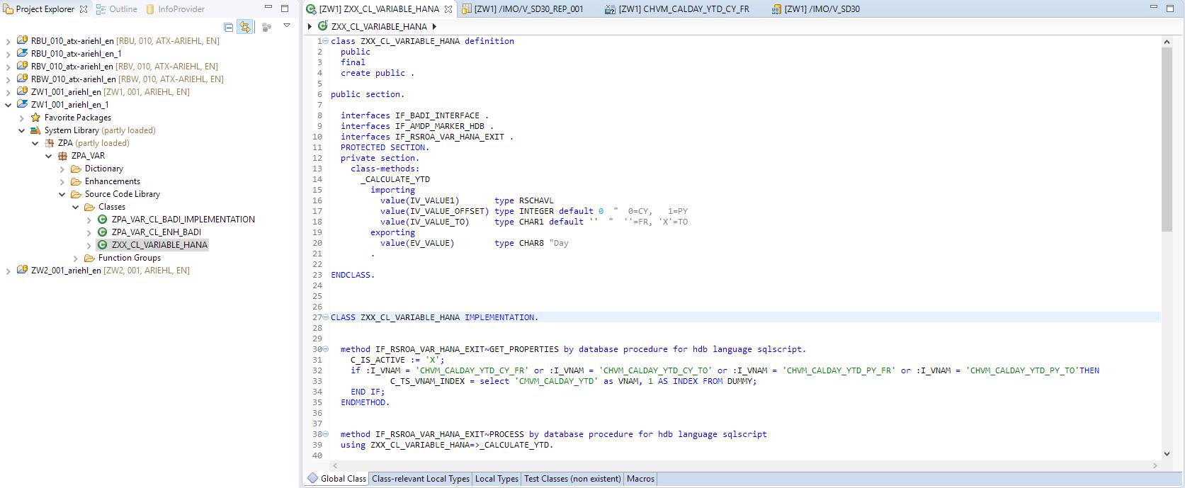 SAP HANA Exit Variables.