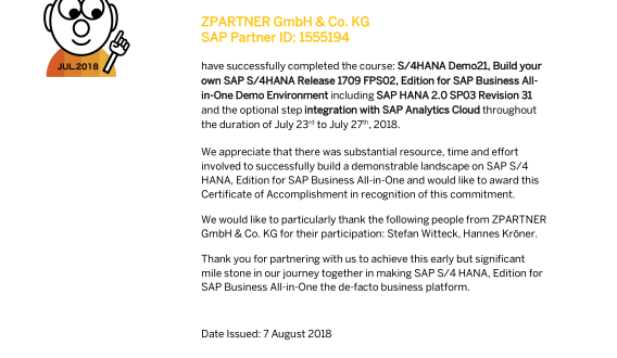 ZPARTNER S/4HANA Demo21