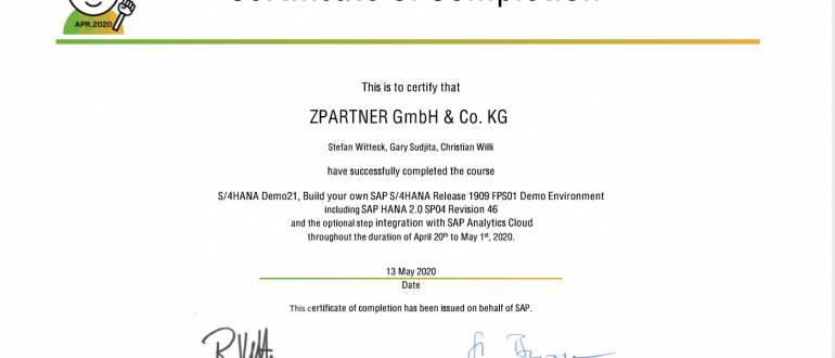 S/4HANA Demo21. Certificate of S/4HANA Demo21.