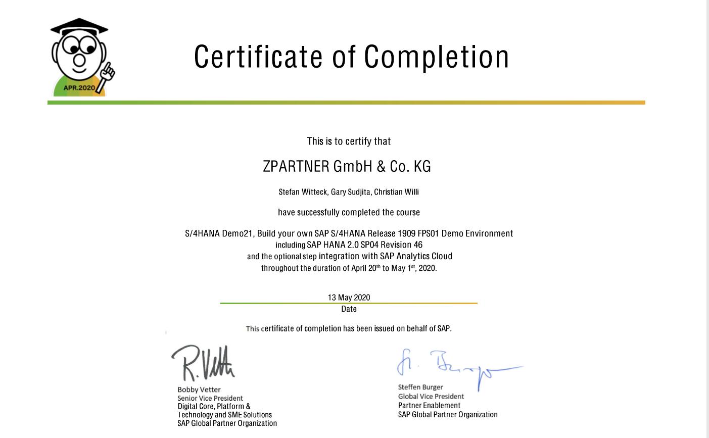Certificate of S/4HANA Demo21.