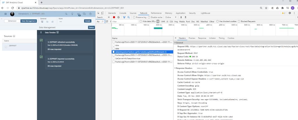 Trigger SAP Analytics Cloud.