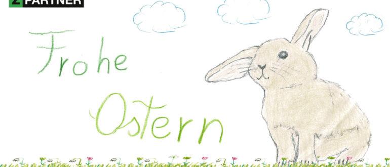 Frohe Ostern @ZPARTNER. Ostern 2021 mit Bild vom Osterhasen